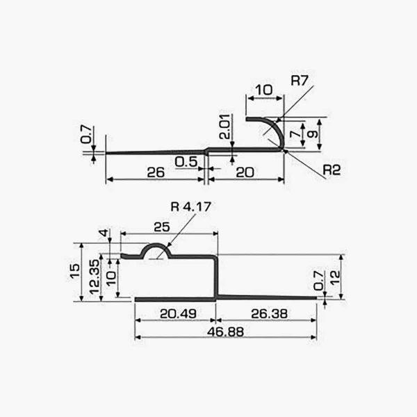 TEMPOLISTEL A122 Joint de dilatation pour faux-plafond dimensions