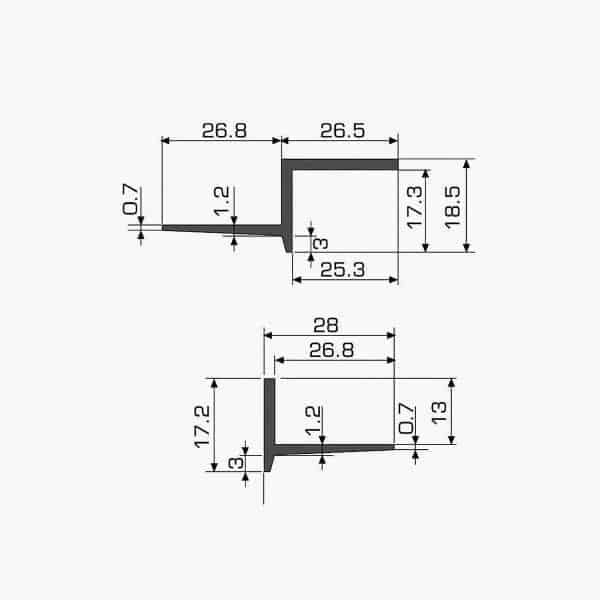 TEMPOLISTEL A128 Joint de dilatation pour faux-plafond dimensions