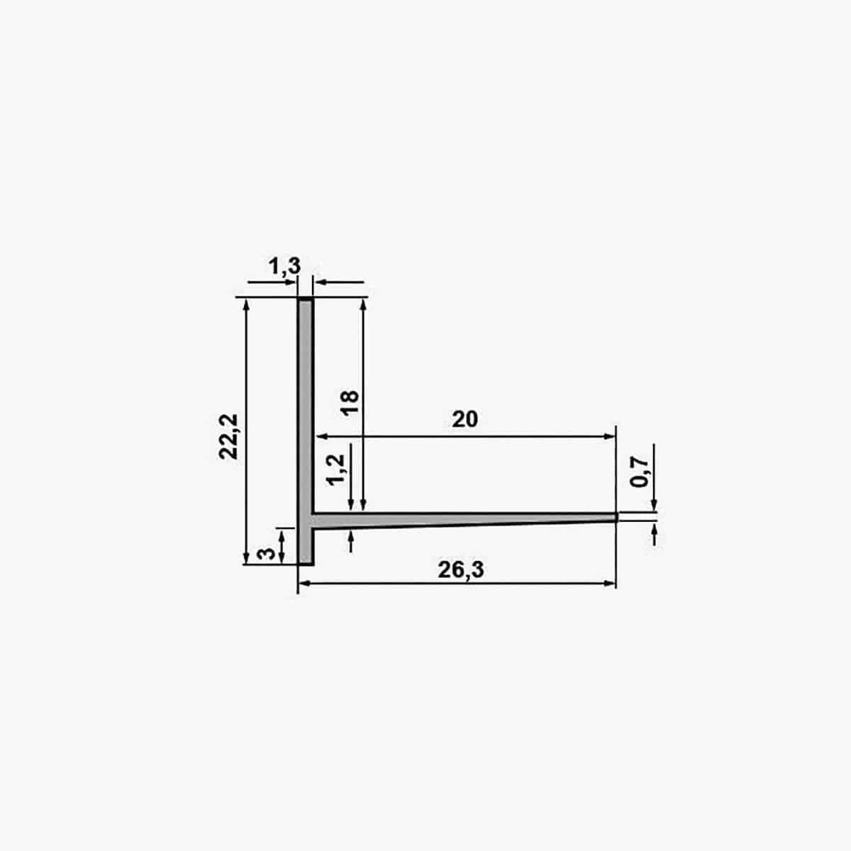 TEMPOLISTEL B102 Profilé d'arret BA 18 dimensions