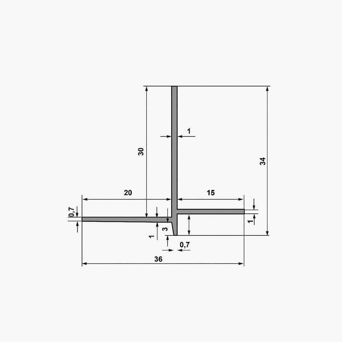 Nouveau-TEMPOLISTEL B101 Profilé de transition décaissé à enduire pour jonction faux plafond plaque de plâtre et démontable dimensions