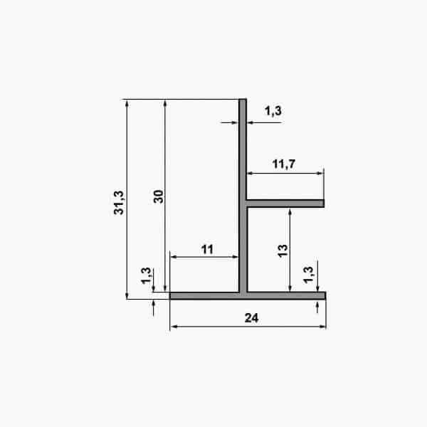 TEMPOLISTEL B104 Profilé de transition pour jonction faux plafond plaque de plâtre et démontable dimensions