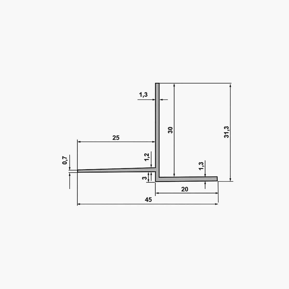 TEMPOLISTEL B105 Profilé de transition pour jonction faux plafond plaque de plâtre et démontable avec un coté à enduire dimensions