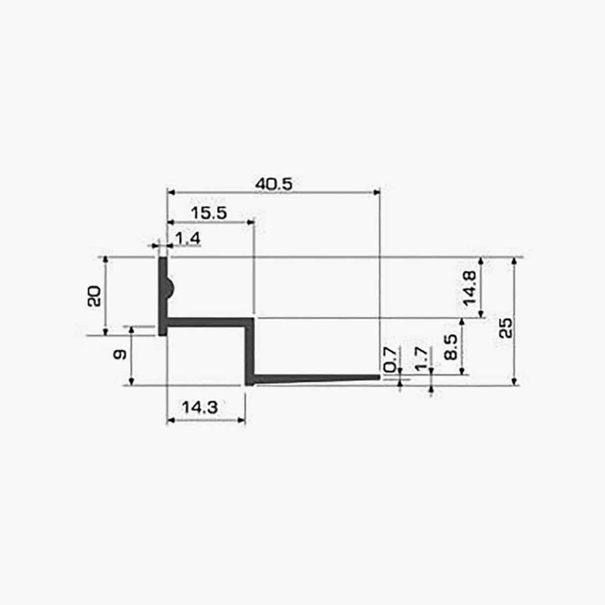 TEMPOLISTEL A119 Profilé faux plafond w dimensions