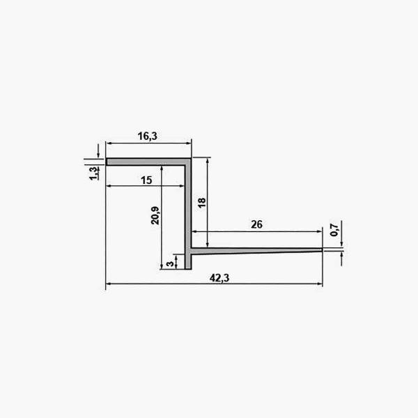 TEMPOLISTEL B103 Profilé joint creux pour BA 18 dimensions