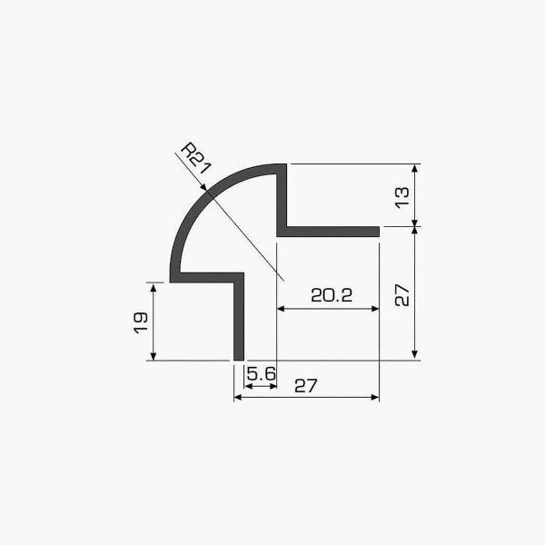 TEMPOLISTEL A109 Profilé protège angle arrondi pour cloison dimensions