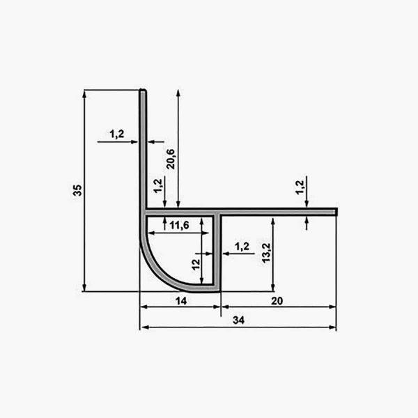 TEMPOLISTEL A133 Profilé protège arrondi pour cloison dimensions
