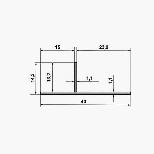 TEMPOLISTEL A134 Profilé T dimensions