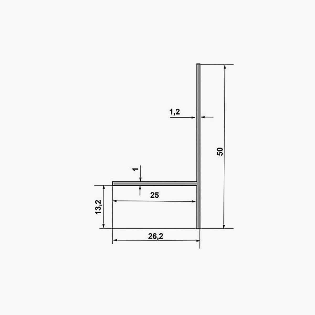TEMPOLISTEL A135 Profilé T dimensions